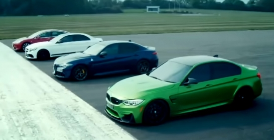 Video: Tesla Model 3 is involved in the race in a straight line with the BMW M3, Alfa Romeo Giulia Quadrifoglio and Mercedes - Benz C63 AMG